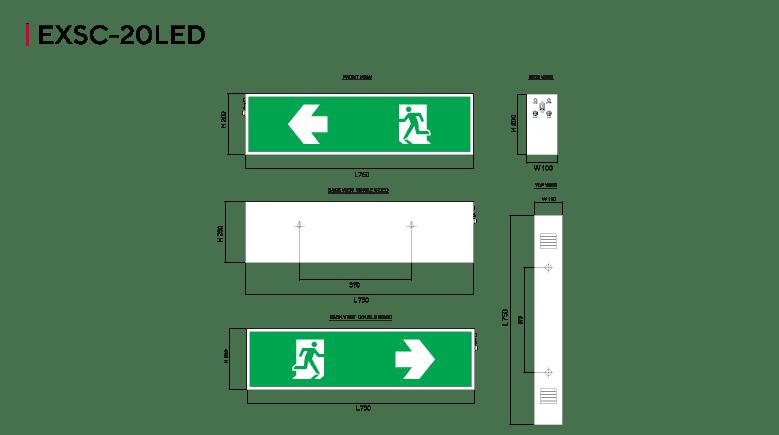 ป้ายไฟทางออกฉุกเฉิน ป้ายทางหนีไฟ LED รุ่น EXSC